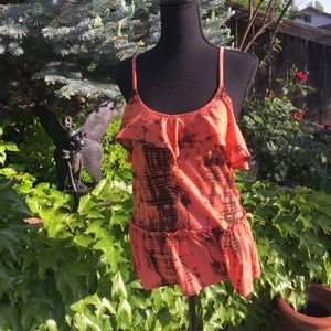 Melon Orange and Black Tie Dye Tank Top